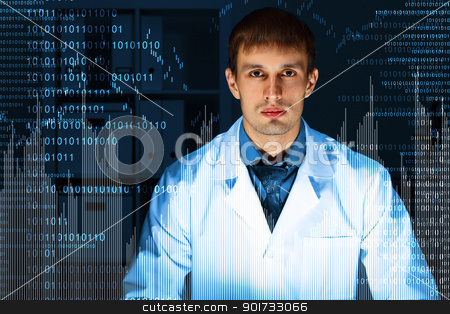 Young scientist in laboratory  stock photo, Young scientist in laboratory in white uniform by Sergey Nivens