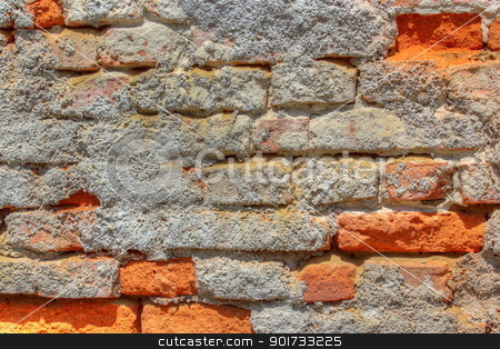 old brick wall stock photo, old abandoned brick wall staying to collapse by coroiu octavian