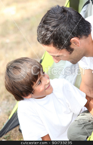 father and son at camping stock photo, father and son at camping by photography33