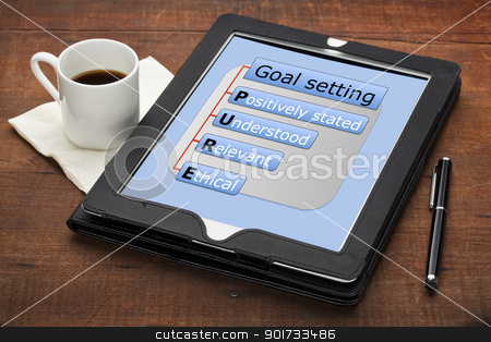 pure goal setting concept  stock photo, PURE (positively stated, understood, ethical) goal setting concept - a diagram on a tablet computer with stylus pen and espresso coffee cup against grunge scratched wooden table by Marek Uliasz