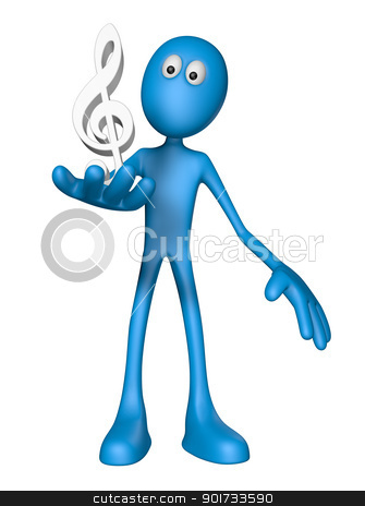 clef symbol stock photo, blue guy and clef symbol - 3d illustration by J?