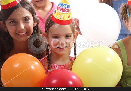 happy little girls at birthday party stock photo, happy little girls at birthday party by photography33