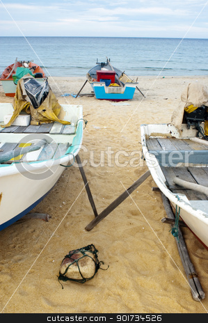 Fishing boats stock photo, Fishing boats on Marang beach, Terengganu, Malaysia. by szefei