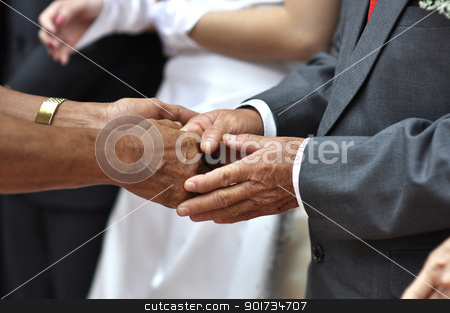 Welcoming guest stock photo, Hand shaking and welcoming guest during wedding day. by szefei