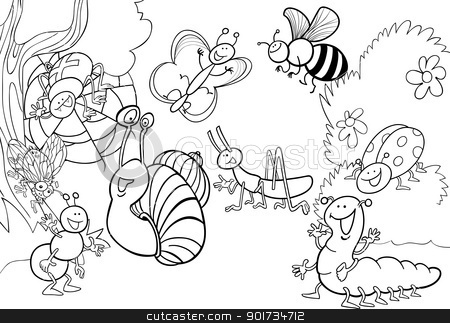 coloring pages 3213038751 | cartoon insects on the meadow for coloring stock vector