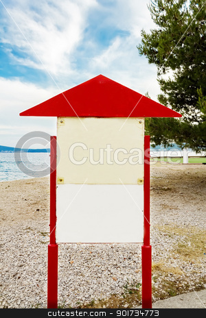 Empty board on the beach  stock photo, Empty (clear) board on the beach  by Artush