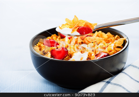 Cereal with milk and strawberries as studio shot stock photo, Cereal with milk and strawberries as studio shot by p.studio66