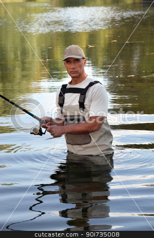 Man fishing in the river stock photo, Man fishing in the river by photography33
