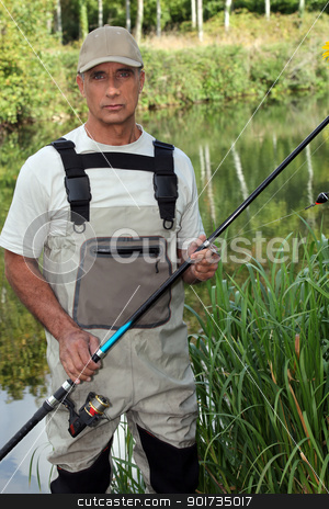 Man fishing in pond stock photo, Man fishing in pond by photography33