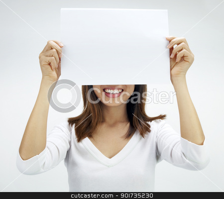 Blank paper for advertisment stock photo, Concept photo of Asian woman holding a white card, covering her eyes. by szefei