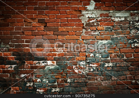 Aged brick wall stock photo, Aged brick wall by pashabo