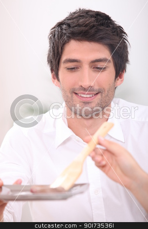 Man being served food stock photo, Man being served food by photography33