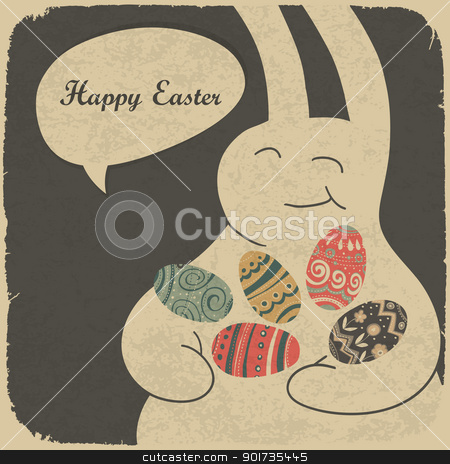Chocolate rabbit and easter eggs. Retro style illustration. stock vector clipart, Chocolate rabbit and easter eggs. Retro style illustration. by pashabo