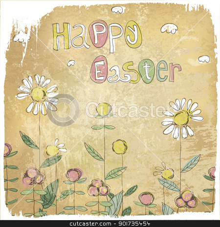 Happy Easter Vintage Card. stock vector clipart, Happy Easter Vintage Card. by pashabo