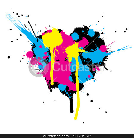 Heart shaped ink stains. stock vector clipart, Heart shaped ink stains. Vector illustration by pashabo