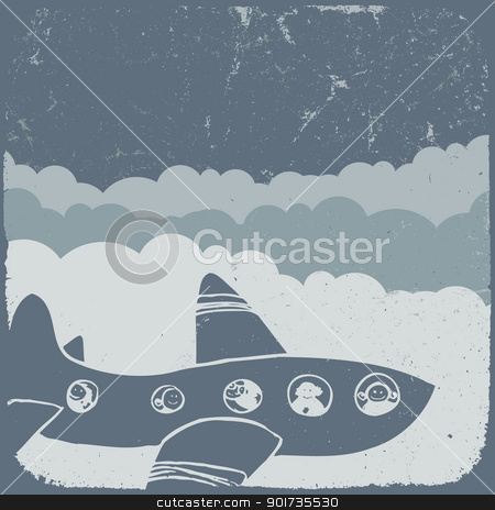 Airplane in sky.  stock vector clipart, Airplane in sky.  by pashabo