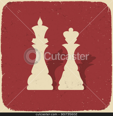 King and queen. Retro chess background, vector illustration, EPS stock vector clipart, King and queen. Retro chess background, vector illustration, EPS10. by pashabo