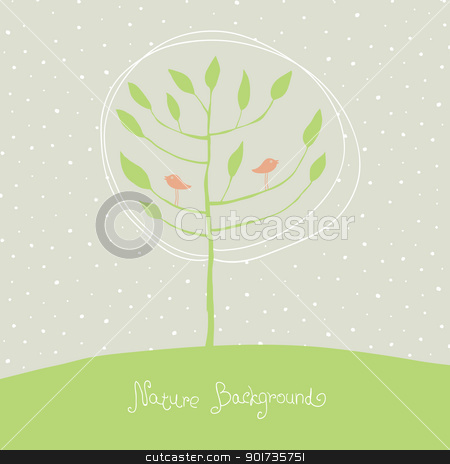 Green tree with birds on branches. Vector, EPS8. stock vector clipart, Green tree with birds on branches. Vector, EPS8. by pashabo