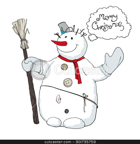 Cute snowman llustration. Vector, EPS8 stock vector clipart, Cute snowman llustration. Vector, EPS8 by pashabo