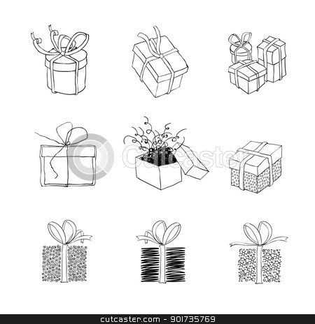 Gift box for xmas designs. Set of nine illustrations.Vector, EPS stock vector clipart, Gift box for xmas designs. Set of nine illustrations.Vector, EPS8 by pashabo