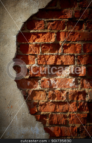 Old grunge brick wall with space for text. Vertical orientation. stock photo, Old grunge brick wall with space for text. Vertical orientation. by pashabo
