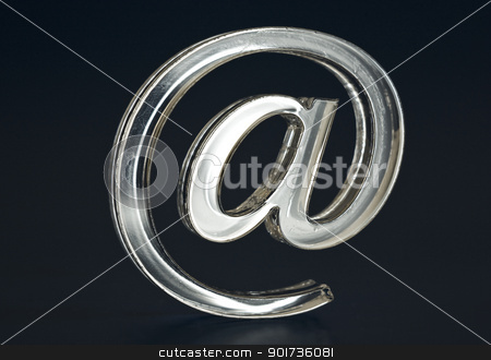 Symbol  e-mail. stock photo, The Sign Email silvery colour on dark background. by Yury Ponomarev