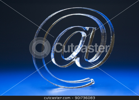 Symbol  e-mail. stock photo, The Sign Email on dark background. by Yury Ponomarev