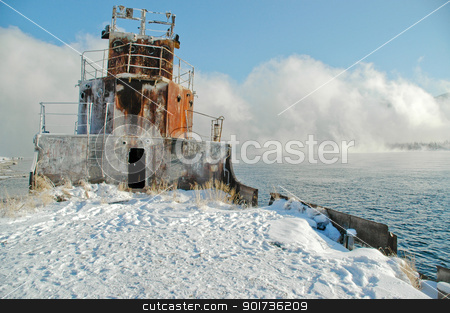 Siberia. Winter. A fog. stock photo, Old a river vessel. A fog. The river Yenisei in the winter. by Yury Ponomarev