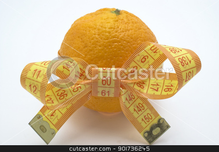 Symbol of diet and healthy eating. stock photo, Orange  with measuring tape. White background. by Yury Ponomarev
