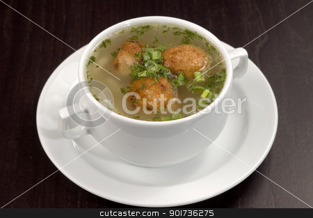 Vegetable soup. stock photo, Vegetable soup on a white plate. by Yury Ponomarev
