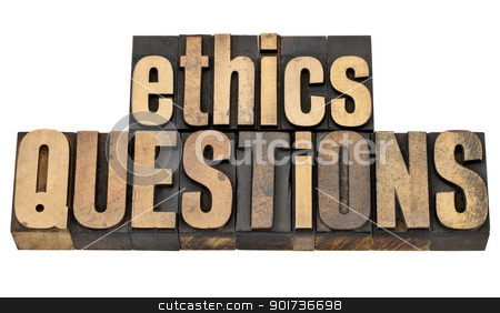 ethics questions in wood type stock photo, ethics questions - moral dilemma concept - isolated text in vintage letterpress wood type by Marek Uliasz