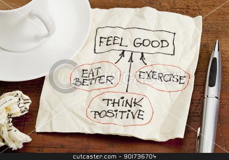 feel good concept - napkin doodle stock photo, think positive , exercise, eat better - cocept of feeling good - sketch on cocktail napkin with coffee cup on table by Marek Uliasz