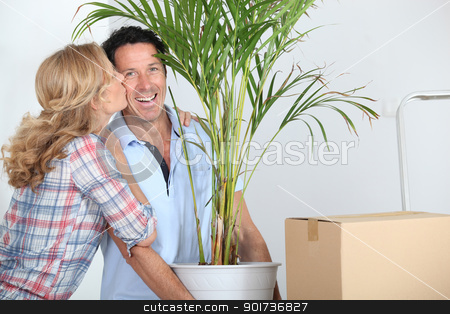 Couple moving in with plant stock photo, Couple moving in with plant by photography33