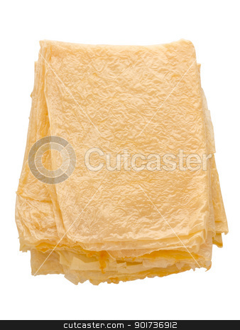 beancurd sheets stock photo, close up of a stack of beancurd sheets by zkruger