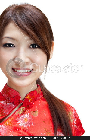 Oriental girl stock photo, Cute Oriental girl on white background by szefei