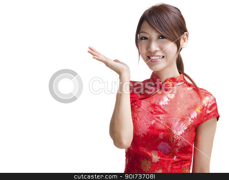 Blank sign - Oriental beauty stock photo, Asian Chinese woman in Traditional Chinese Cheongsam gesturing by szefei