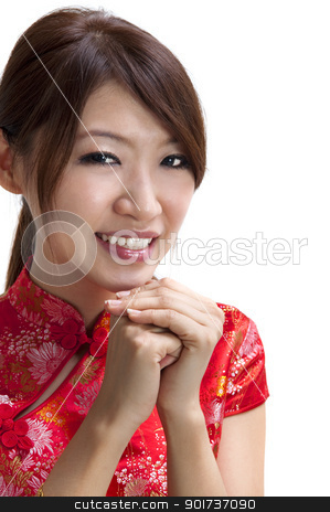 Happy Chinese New Year stock photo, Oriental girl wishing you a happy Chinese New Year. by szefei