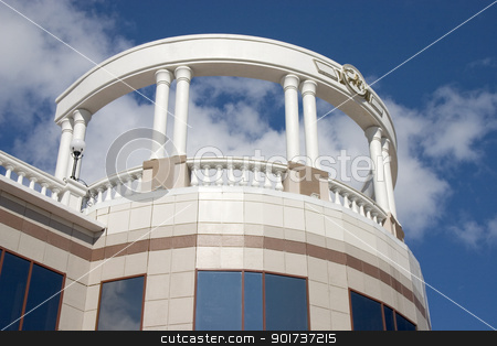 Balcony with white columns. stock photo, Balcony with white columns on a background of the sky with clouds. by Yury Ponomarev