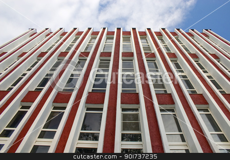 Modern Architecture. stock photo, Modern building from a brick. Glass windows. by Yury Ponomarev