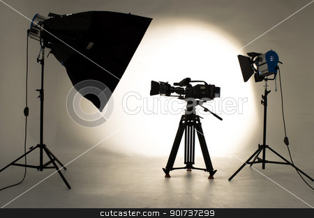 Studio Lighting. stock photo, Searchlight and silhouette of the chamber. by Yury Ponomarev