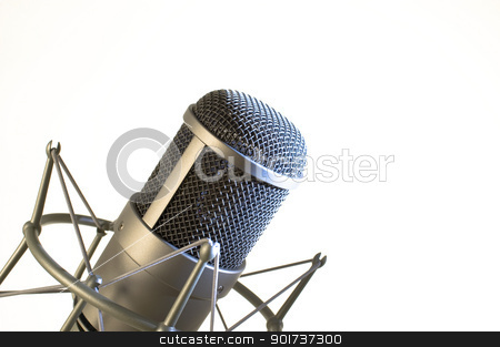 Microphone in studio. stock photo, Microphone on a white background. by Yury Ponomarev