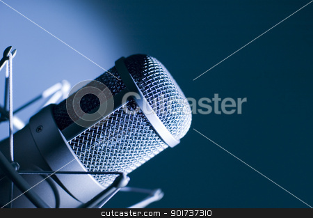 Microphone in studio. stock photo, Microphone in studio. Dark blue light. by Yury Ponomarev