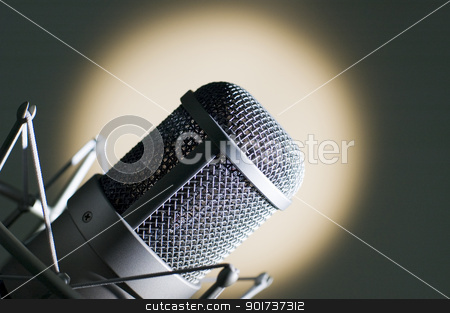 Microphone. stock photo, Microphone in studio. by Yury Ponomarev
