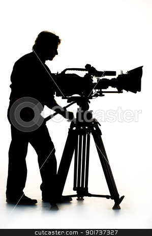 TV the camera in studio. stock photo, Cameraman silhouette and cameras. by Yury Ponomarev