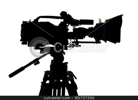 Studio Lighting. stock photo, Silhouette of the camera and tripod. by Yury Ponomarev