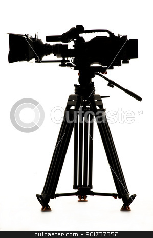Silhouette of the camera and tripod. stock photo, Professional digital video camera on a white background. by Yury Ponomarev