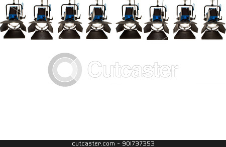 Eight searchlights. stock photo, Eight searchlights on a white background. by Yury Ponomarev