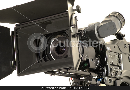 Professional digital video camera. stock photo, Professional digital video camera on a white background. by Yury Ponomarev