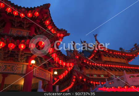 Buddhist temple stock photo, Red Chinese lanterns display, taken at the Chinese New Year celebrations. Red is lucky colour for Chinese. by szefei