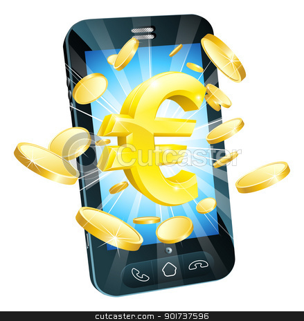 Euro money phone concept stock vector clipart, Euro money phone concept illustration of mobile cell phone with gold Euro sign and coins by Christos Georghiou